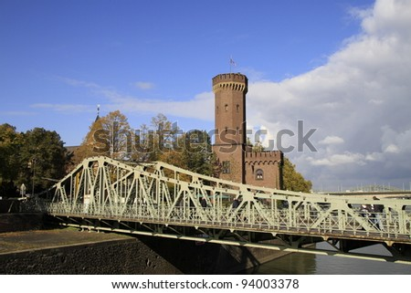 beautiful old bridge in Cologne - stock photo