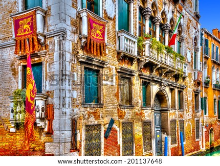 Beautiful old building at Venice Italy. HDR processed
