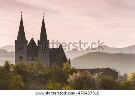 Beautiful Old Cathedral in the Misty Spring Morning (Spisske Podhradie, Slovakia)