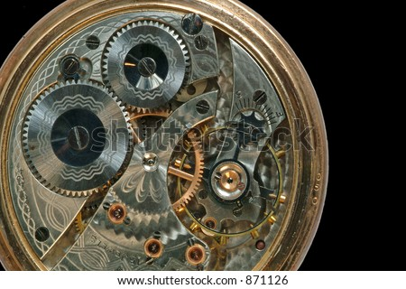 Beautiful old clock machine - stock photo