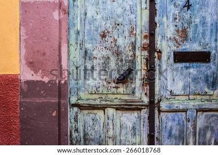 Beautiful old door in San Miguel de Allende - Mexico - stock photo