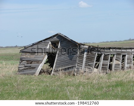 beautiful old farm buildings shed - stock photo