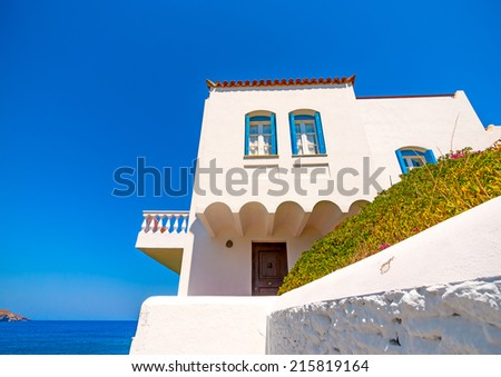 beautiful old house with view to the sea at Chora, the capital of Andros island in Greece