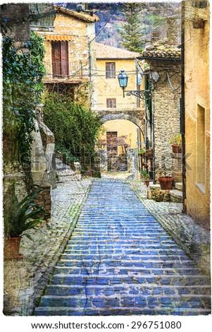 beautiful old Italian villages - Casperia,artistic picture - stock photo