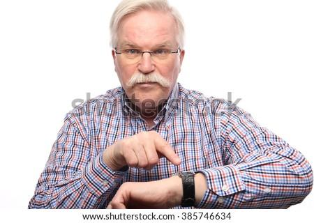 Beautiful old man - stock photo
