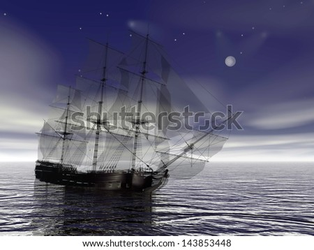Beautiful old merchant ship floating on quiet water night with full moon - stock photo