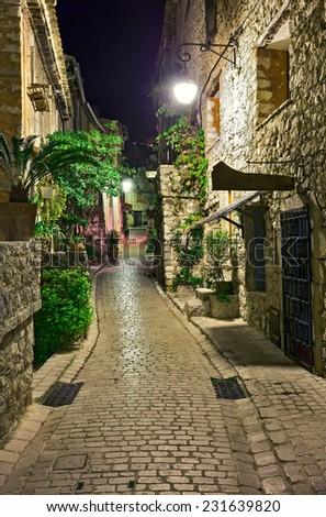 Beautiful old street, Alpine Provence, France. - stock photo