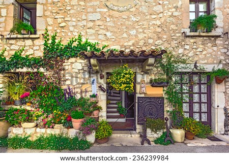 Beautiful old street, Alpine Provence, France. - stock photo