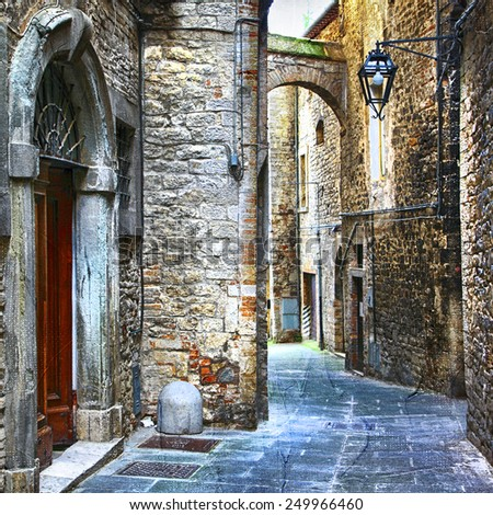 beautiful old streets of Italian medieval towns - stock photo