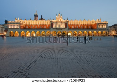 Beautiful old Sukiennice on the Krakow main square at night, Poland - stock photo