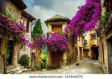 beautiful old town of Provence - stock photo