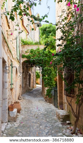 beautiful old town stone street of Provence at summer day, France - stock photo