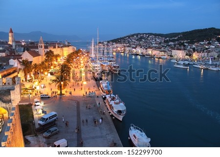"Beautiful Old ""Trogir"" City in the Evening, Croatia - stock photo"