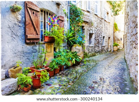 beautiful old villages of Provence, artwork in painting style - stock photo