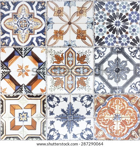 Beautiful old wall ceramic tiles patterns handcraft from thailand public. - stock photo