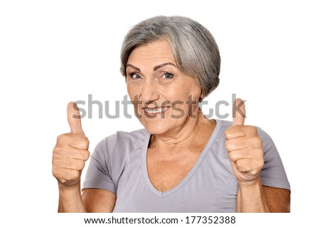 Beautiful old woman on a white background