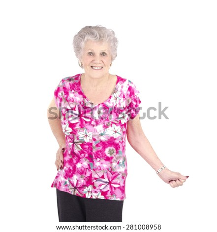 Beautiful old woman smiling against a white background - stock photo