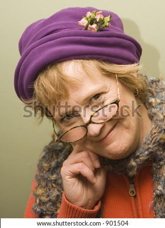 Beautiful Older Woman Fun Expression Wearing Stock Photo
