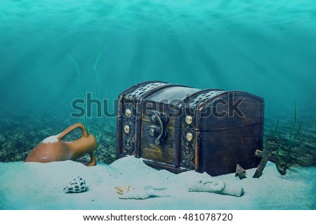 Beautiful Collage Closed Old Wooden Treasure Stock Photo 481079080 Shutterstock