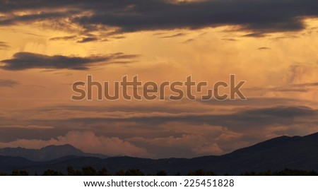 Beautiful orange cloud at sunset  - stock photo