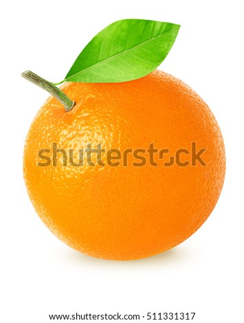Beautiful orange fruit with leaf isolated on white