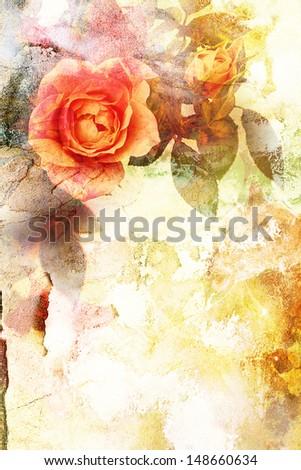 Beautiful orange grungy rose background - stock photo