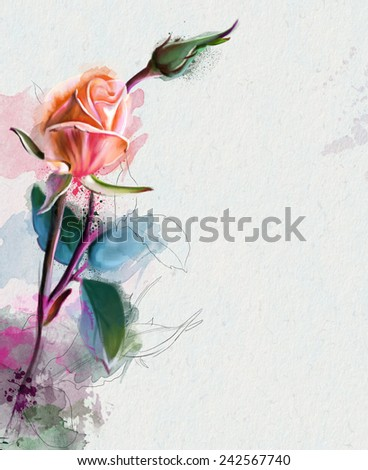 Beautiful orange rose, Watercolor painting - stock photo