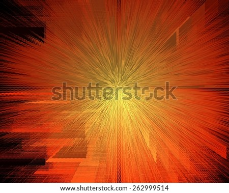 Beautiful orange sunburst heat wave abstract background. - stock photo