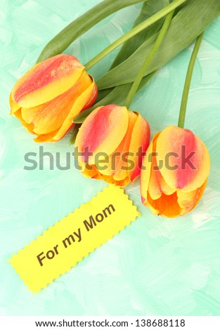 Beautiful orange tulips on color wooden background - stock photo