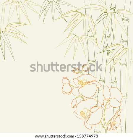 Beautiful orchid flowers and bamboo isolated on sepia.  illustration. - stock photo