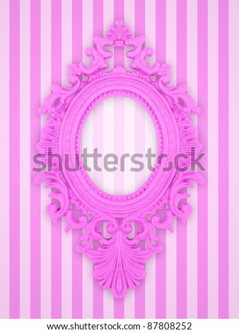 Beautiful ornamental frame on a pink stripy background, similar available in my portfolio - stock photo