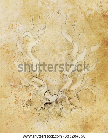 Beautiful Ornamental pencil drawing on old paper. Heart and fire with flash. Sepia color. - stock photo