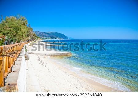 Beautiful Ouranoupolis sandy beach on Athos peninsula, Greece. - stock photo