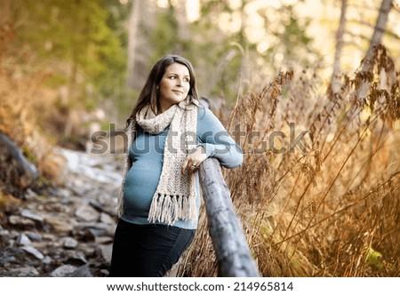 Beautiful outdoor pregnant woman portrait in autumn nature - stock photo