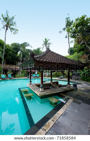 Beautiful outdoor swimming pool - stock photo