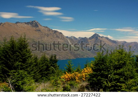 Beautiful overlook from the Ben Loman track located just outside of Queenstown, New Zealand - stock photo