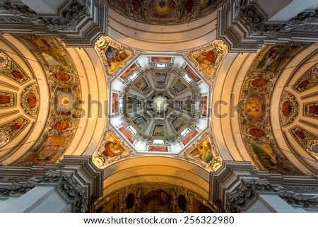 Beautiful painted ceiling of dome at Salzburg cathedral - stock photo