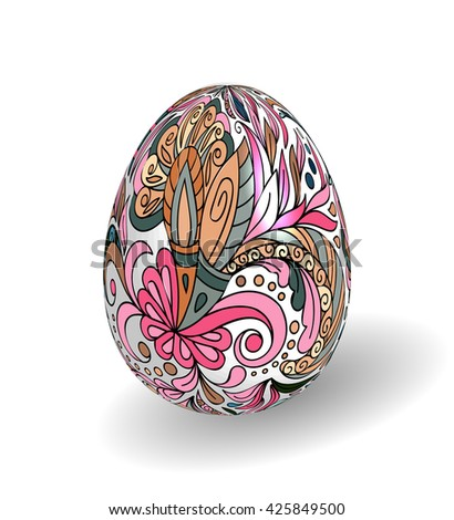 Beautiful painted easter egg on white background. 3D effect, shadow. Hand drawing doodle flowers on white egg. - stock photo