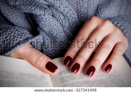 Beautiful painted nails for autumn - stock photo