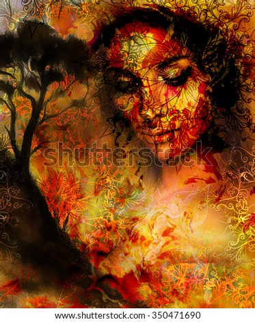 Beautiful Painting Goddess Woman with ornamental mandala and color abstract background  and Tree. Brown, orange, yellow color