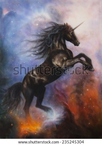 beautiful painting of a black unicorn dancing in space - stock photo
