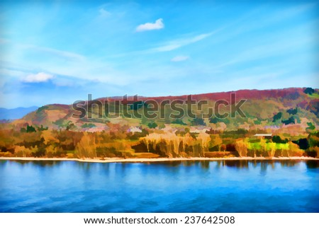 beautiful painting of a landscape  - stock photo