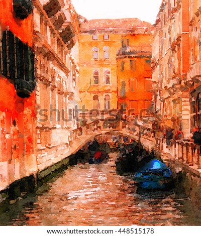 beautiful Painting Of one Canal in Venice