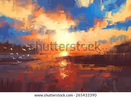 beautiful painting showing sunset on the lake - stock photo