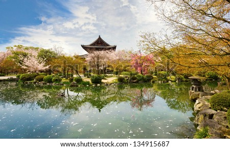Beautiful palace park in Kyoto in spring,  Japan