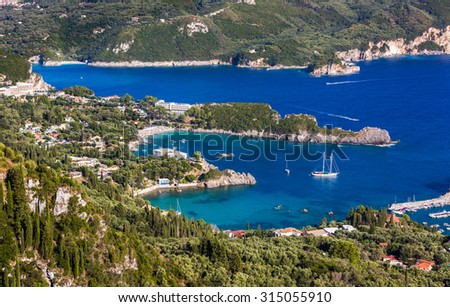 Beautiful Paleokastritsa beach on Corfu,Greece. View of the beautiful Greece sea at summer sunny day.
