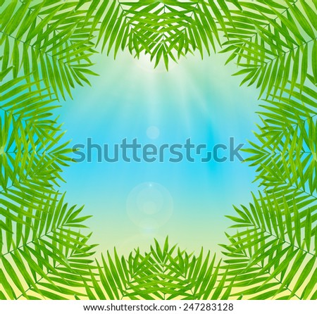 Beautiful palm leaves shaped as frame with space for your text