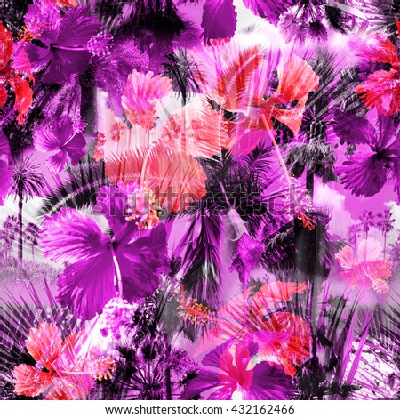 Beautiful Palm Trees And Tropical Flowers Hibiscus Seamless Pattern Colorful Floral Background Clip Art