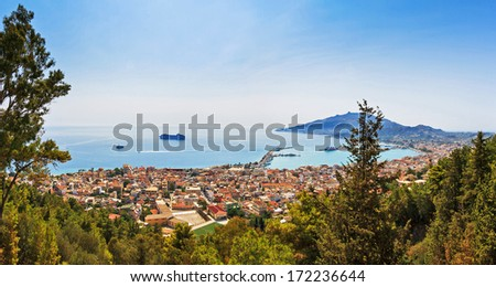Beautiful panorama looking over the city and harbor of Zakynthos on the island Zakynthos, Greece.  - stock photo