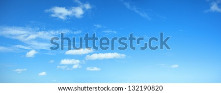 Beautiful panorama of a blue sky - stock photo